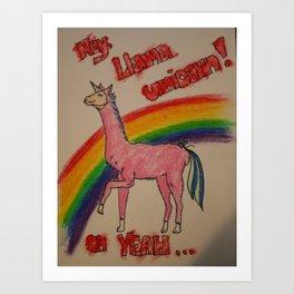 Llama unicorn Dude! Art Print