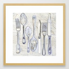 Classic Silverware Blue and Cream Framed Art Print