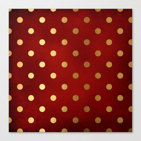 Adorable pattern for girls- gold dots on red backround Canvas Print