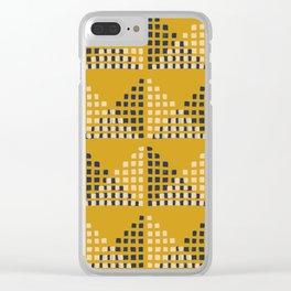 Layered Geometric Block Print in Mustard Clear iPhone Case