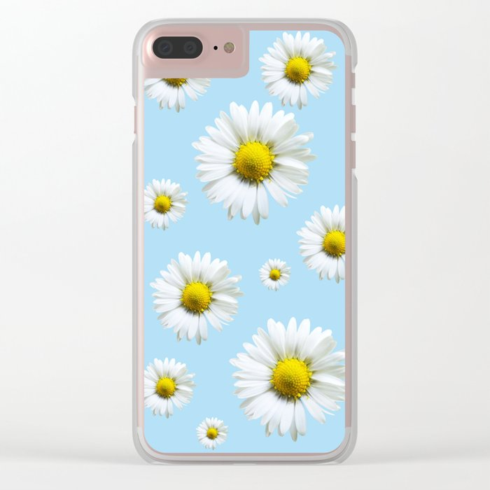 Blue Daisy Chains Clear iPhone Case