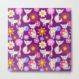 Seamless hand painted pattern with cute cartoon cats and flowers. Metal Print