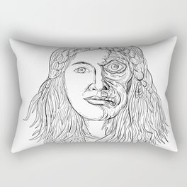 Norse Goddess Hel Face Front Drawing Black and White Rectangular Pillow