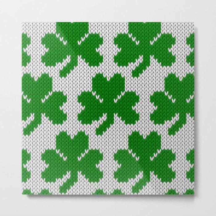 Shamrock pattern - white, green Metal Print