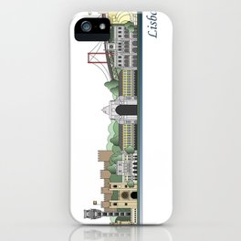 Lisbon skyline colored iPhone Case
