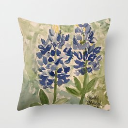 Jeanette's Texas Bluebonnets Throw Pillow