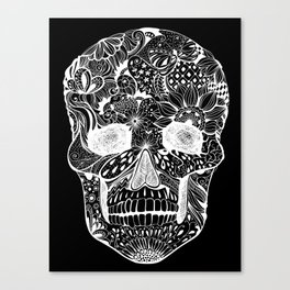 Human skull with hand- drawn flowers, butterflies, floral and geometrical patterns Canvas Print