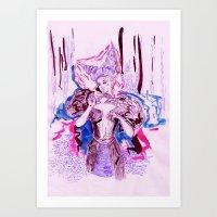 Woods and girl Art Print