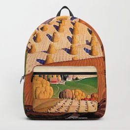 Classical Masterpiece 'Fall Plowing' by Grant Wood Backpack