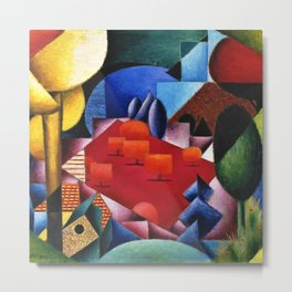 Lake, Forest, and Alpine Orchard Landscape by Jean Metzinger Metal Print