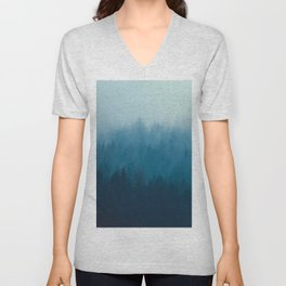 Misty Turquoise Blue Pine Forest Foggy Ombre Monochrome Trees Landscape Unisex V-Neck