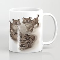 tigers Mugs featuring Baby Tigers by Katikut