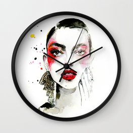 Red makeup fashion Wall Clock