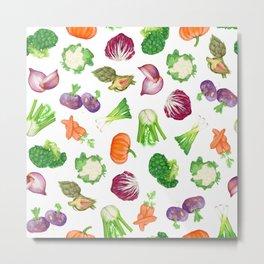 Veggies illustrations pattern   Watercolor farm veggies   Vegan pattern Metal Print