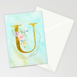 Gold Foil Alphabet Letter U Initials Monogram Frame with a Gold Geometric Wreath Stationery Cards