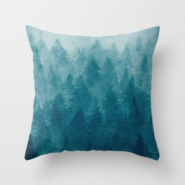 Misty Pine Forest Throw Pillow