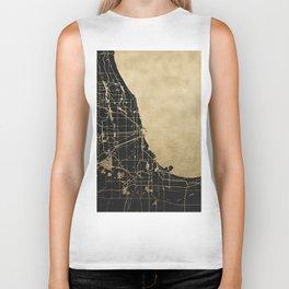 Chicago Black and Gold Street Map Biker Tank