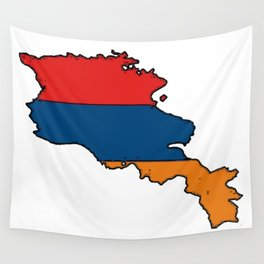 Armenia Map with Armenian Flag Wall Tapestry