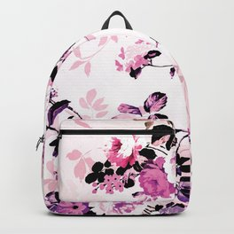 Modern blush pink black watercolor country floral Backpack