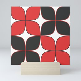 Mid-Century Modern Art - Flower Pattern Black Red Mini Art Print