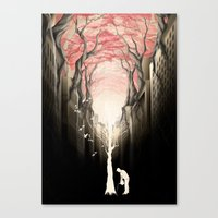 city Canvas Prints featuring Revenge of the nature II: growing red forest above the city. by Rafapasta