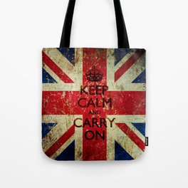 Square Keep Calm and Carry On Grunge Union Jack Tote Bag