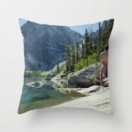 Emerald Green Alpine Lake Throw Pillow