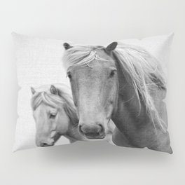 Horses - Black & White Pillow Sham
