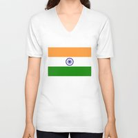 islam V-neck T-shirts featuring Flag of India - High quality authentic HD version by Bruce Stanfield