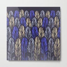 Blue Feather Pattern Metal Print