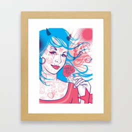 Pink & Blue Tattoo Framed Art Print