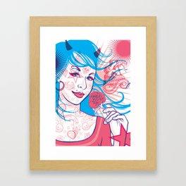Pink & Blue Tattoo Framed Art Print