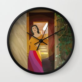 A woman in the rainbow skirt Wall Clock