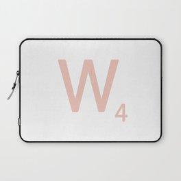 Pink Scrabble Letter W - Scrabble Tile Art and Accessories Laptop Sleeve