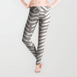 Abstract Herringbone Pattern, Rustic, Light Brown Leggings
