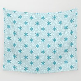 Teal Blue Snowflake Pattern Wall Tapestry