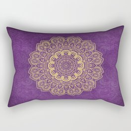 Golden Flower Mandala on Textured Purple Background Rectangular Pillow