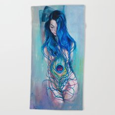Peafowl Flow Beach Towel