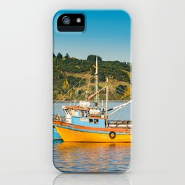 Fishing Boat at Lake, Chiloe, Chile iPhone Case