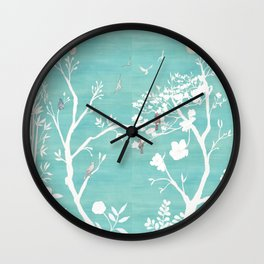Chinoiserie Panels 1-2 White Scene on Teal Raw Silk - Casart Scenoiserie Collection Wall Clock