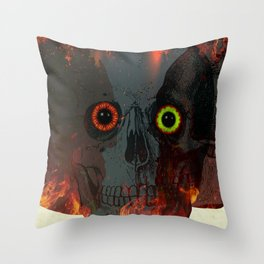 Demon Skull On Fire Throw Pillow