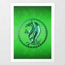 Green Celtic Dragon Art Print