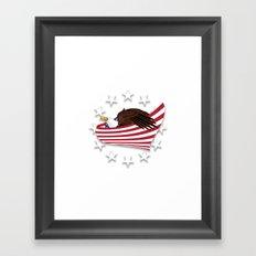 Bald Eagle wrapped in USA flag Crest Framed Art Print