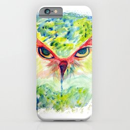 Lime Teal Watercolor Owl iPhone Case