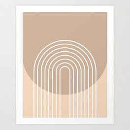 Geometric Lines in Beige and Brown Shades (Rainbow Abstraction) Art Print