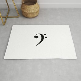 White and Black - Bass Clef Rug