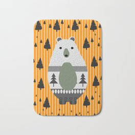 Cute bear, stripes and a fir forest Bath Mat