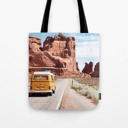 Yellow Van Desert Road Trip Photography Tote Bag