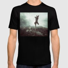 Early morning, goodbye to lost love. MEDIUM Black Mens Fitted Tee