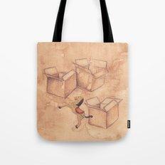 Tres cajas de cartón y un caballo de madera Tote Bag